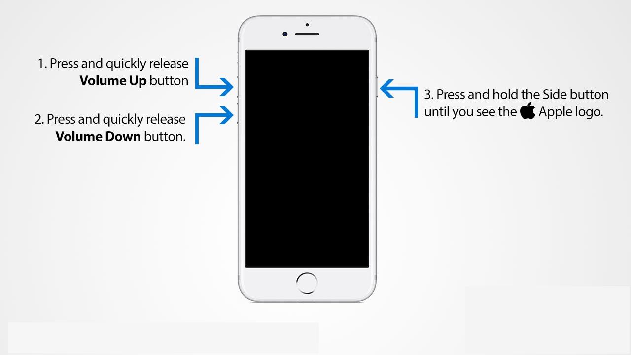 How to Hard reset iPhone 8 series en X